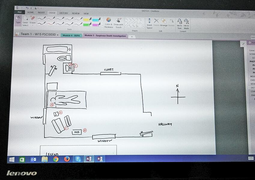 A sketch of the master bedroom on a tablet