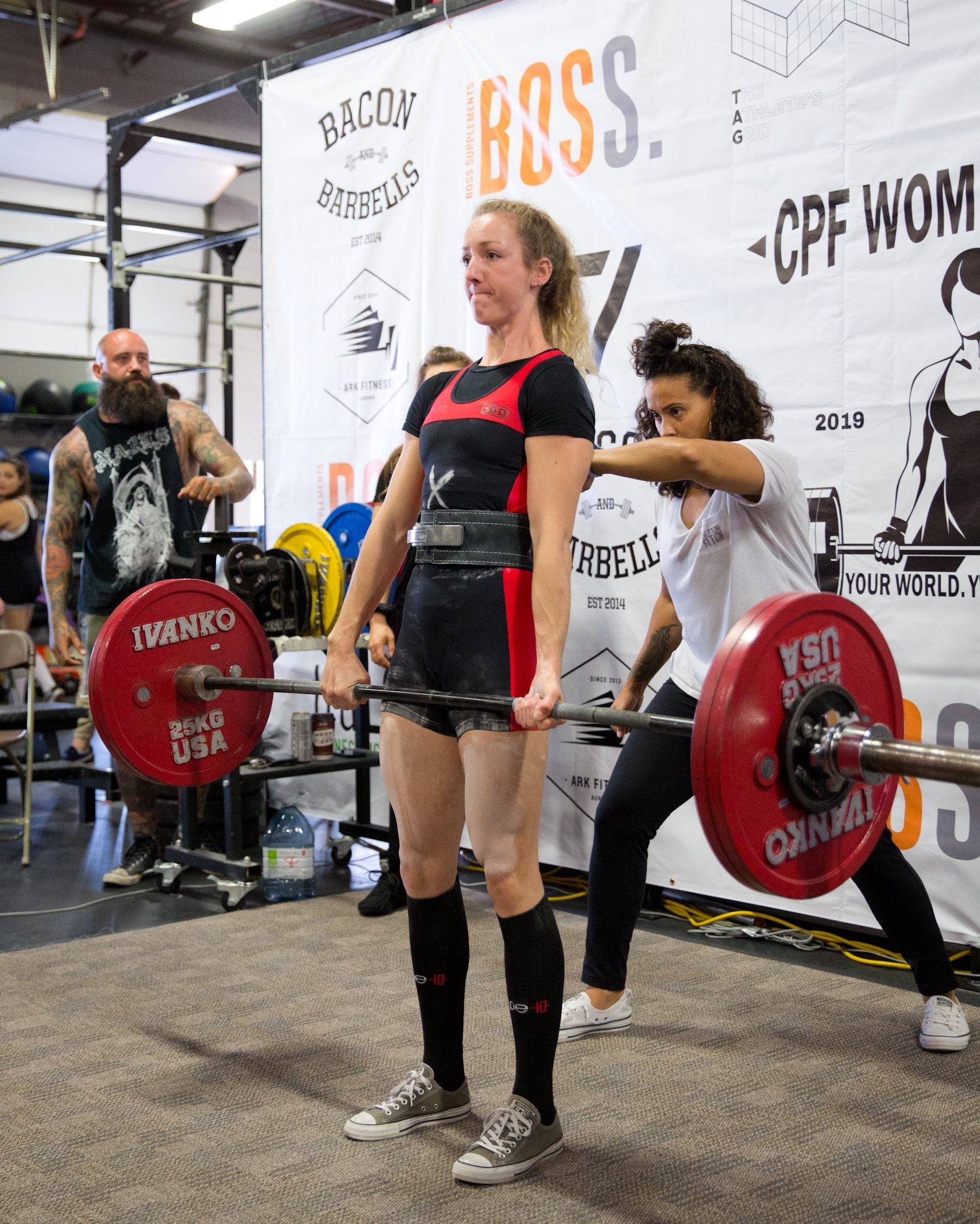 Emily competing in her very first power lifting competition in September 2019.