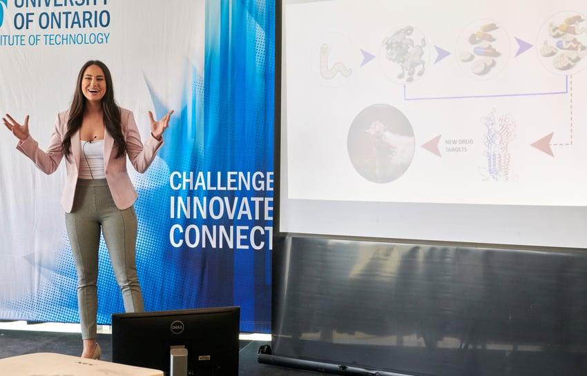 Sarah Habibi during the Three Minute Thesis presentation
