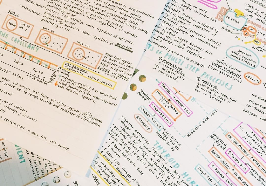 stack of colour coded notes