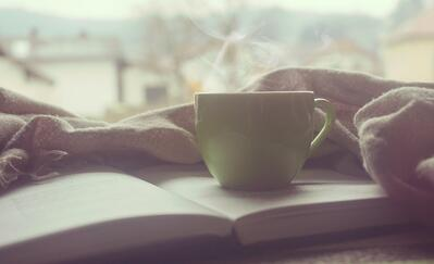 hot drink on a book