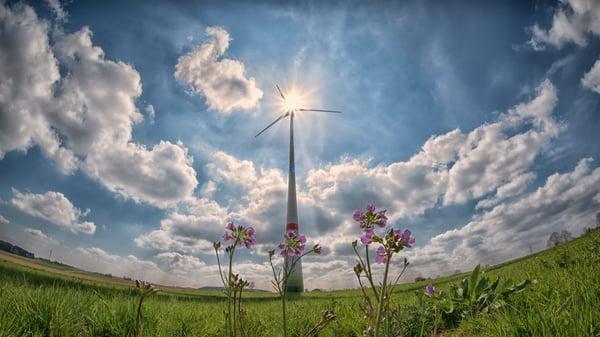 Large windmill in a field