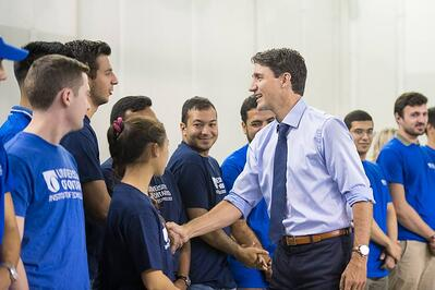 Justin Trudeau greets students