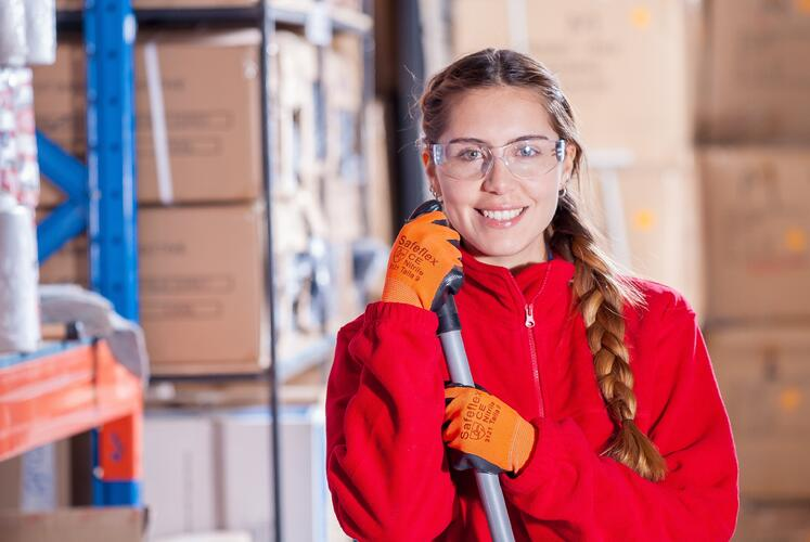 Girl with googles in warehouse environment