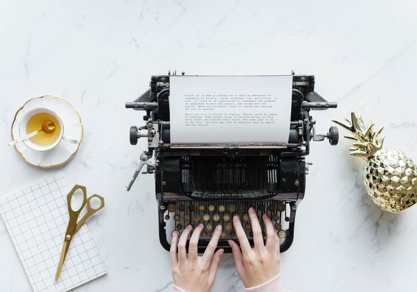 Writing on a typewriter