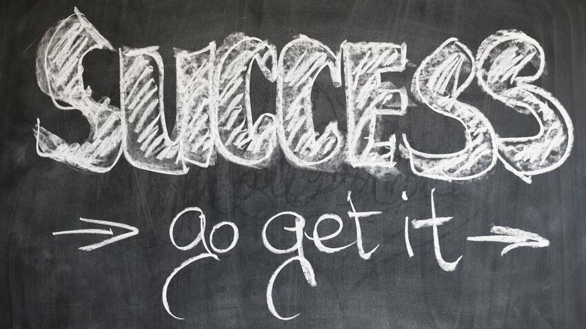 "Chalkboard with the text ""Success go get it"""