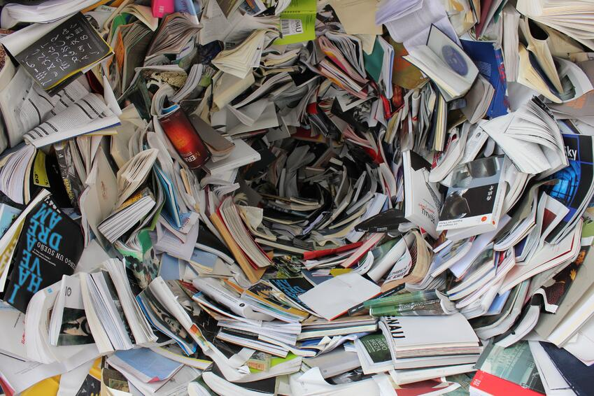 Swirling pile of books