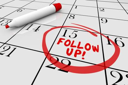 follow up circled on a calendar