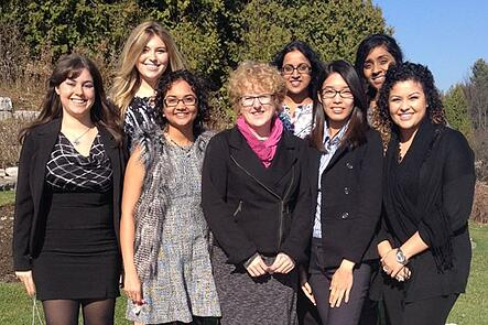 "Anne Coulby (Pictured in Centre) with a group of UOIT students and recruiters who attended ""The National Women in Nuclear Conference in December 2015""."