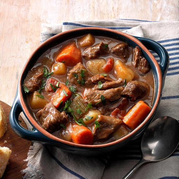 Bowl of beef stew.