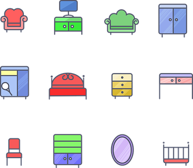 drawing of different furniture items