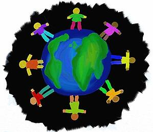 Cartoon of people standing on globe