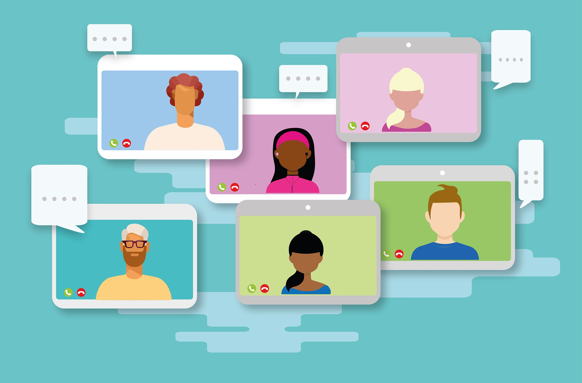 Multiple computer screens with people in a video call